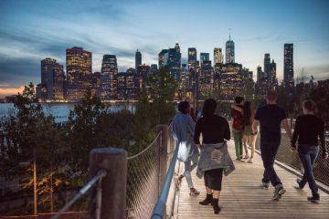 Crossing the Brooklyn Bridge at Night