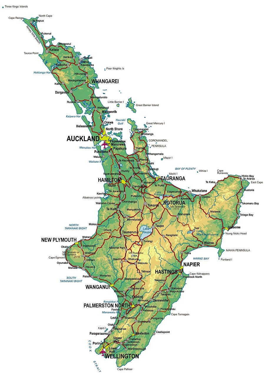 Family Travel map of North Island New Zealand