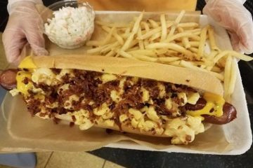 Mac and cheese hotdog