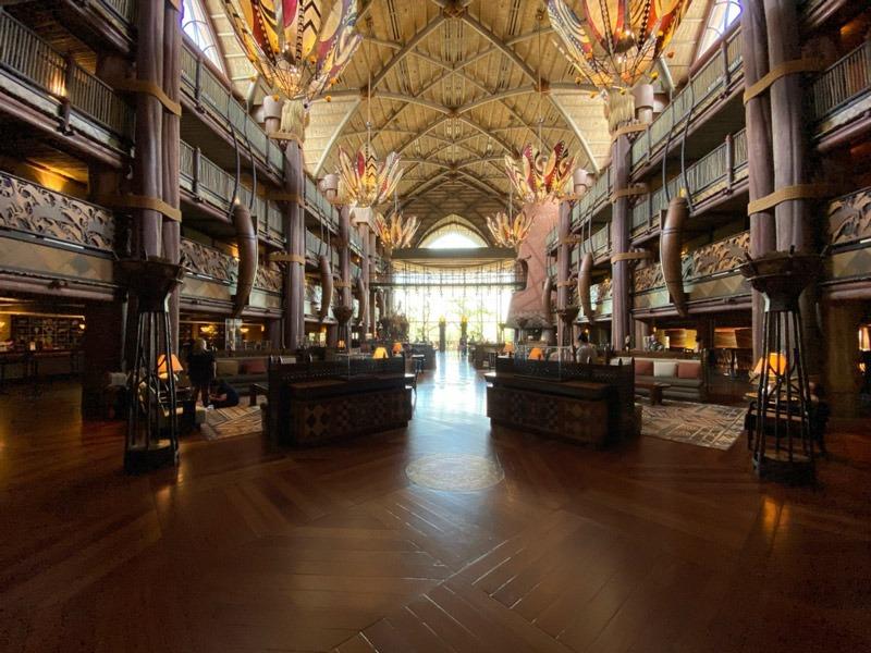 The magnificent atrium at Animal Kingdom Lodge