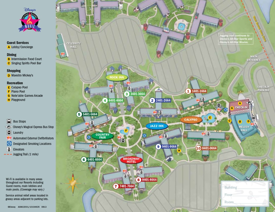 Resort Map at All-Star Music Resort